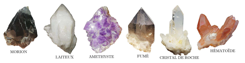 couleurs-quartz-morion-laiteux-amethyste-fumé-cristal-hematoide-achat-vente-minéraux-difference-identification
